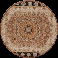 Brown Round 8x8 Oushak Oriental Area Rug