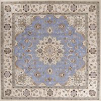 Traditional Floral Light Blue Square 12x12 Nain Oriental Area Rug