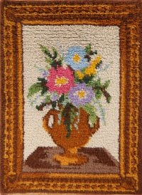 Pictorial Vase Design Hand-Hooked 2x3 Rya Sweden Oriental Area Rug