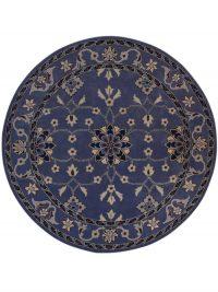Light Blue Round 8x8 Kashan Agra Oriental Area Rug