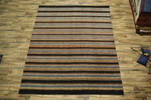 Striped 8x10 Gabbeh Indian Oriental Area Rug