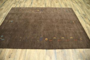 Dark Brown Modern 6x8 Gabbeh Oriental Area Rug