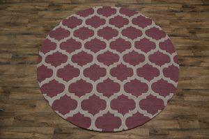 Pink/Ivory Round 8x8 Oushak Trellis Oriental Area Rug