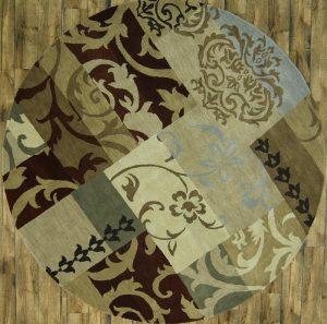 Round 10x10 Oushak Patchwork Design Oriental Area Rug