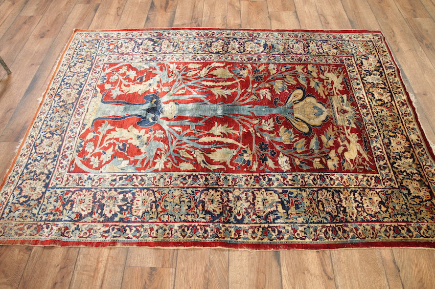 Pre 1900 Antique Silk 5x7 Heriz Persian Area Rug