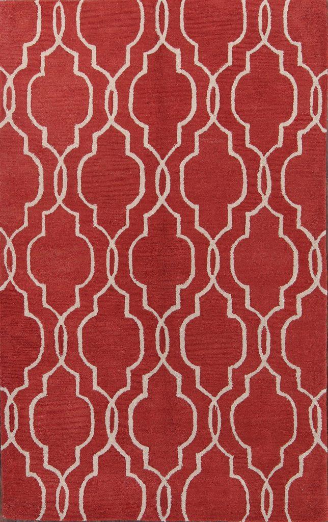 Black/Red 5x8 Moroccan Trellis Oriental Area Rug