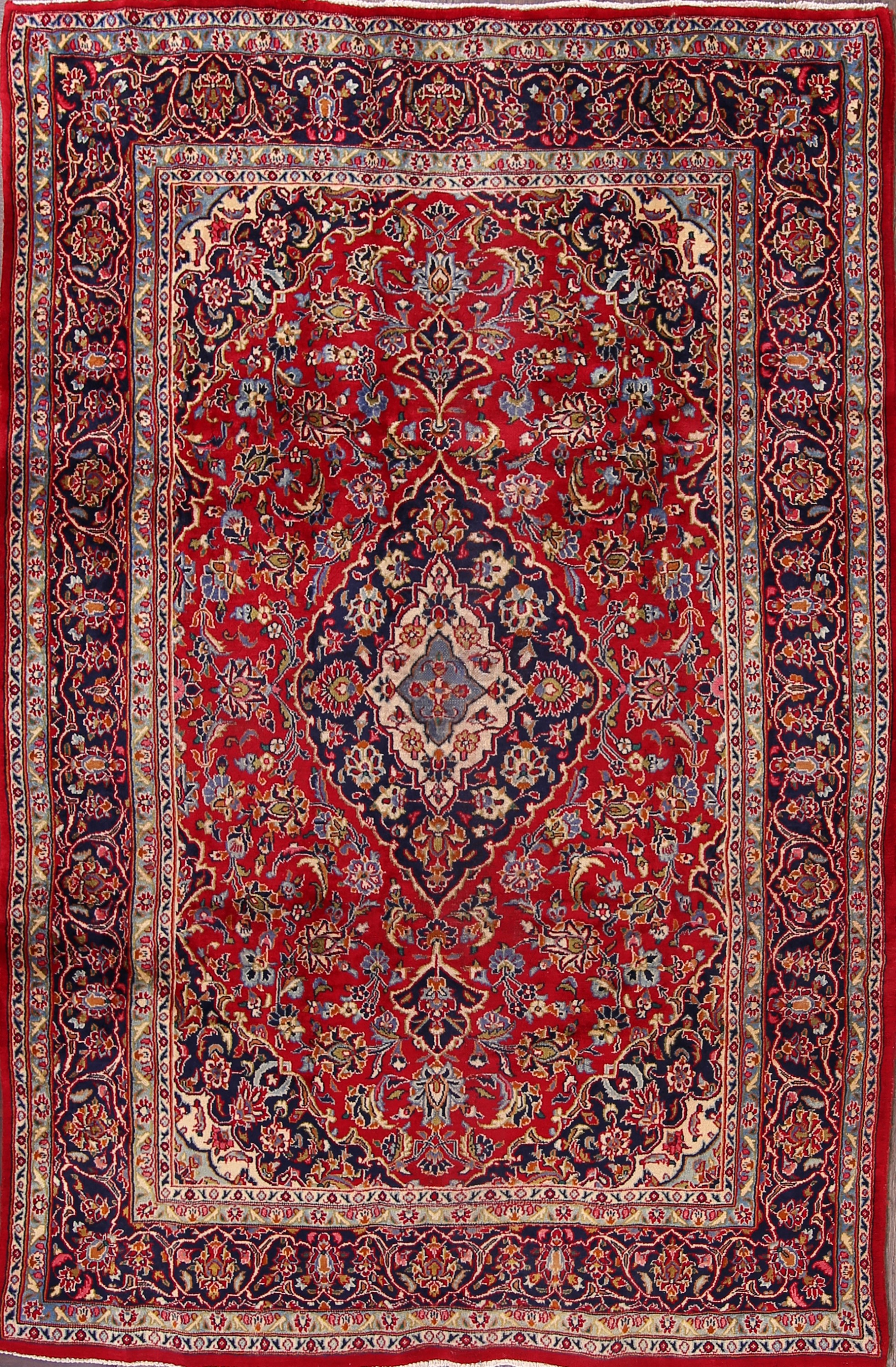 6x9 Kashan Persian Area Rug