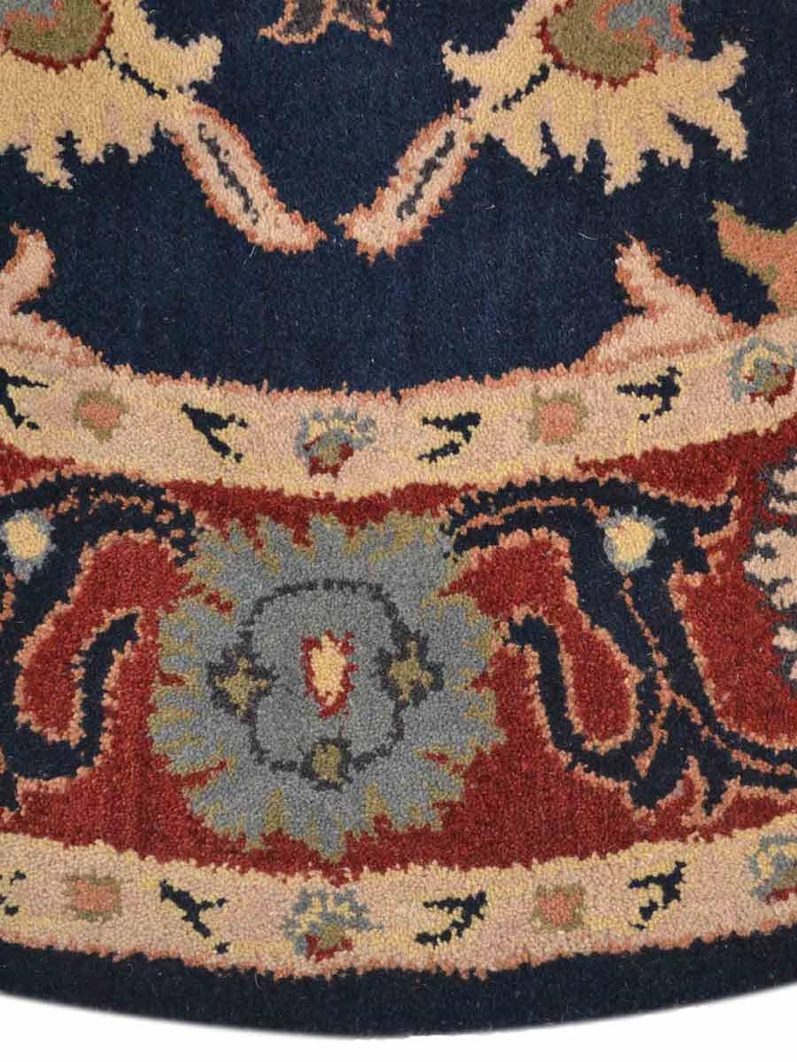 Navy Blue Round 8x8 Tabriz Oriental Area Rug