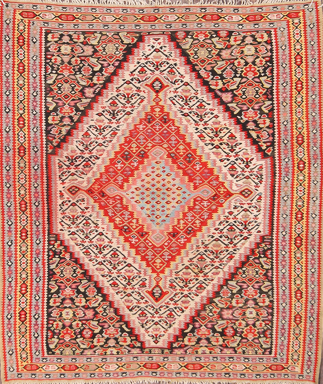 4x4 Kilim Senneh Bidjar Persian Area Rug