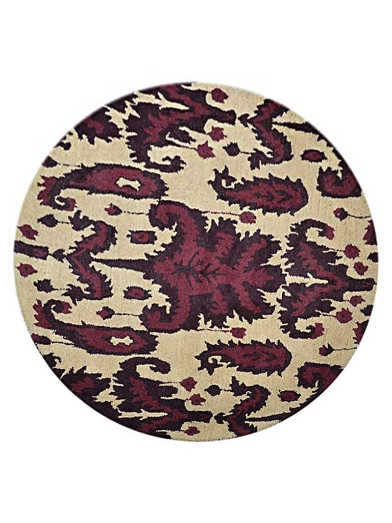 Transitional Floral Round 12x12 Agra Oushak Oriental Area Rug