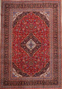 Floral Red 10x14 Kashan Persian Area Rug