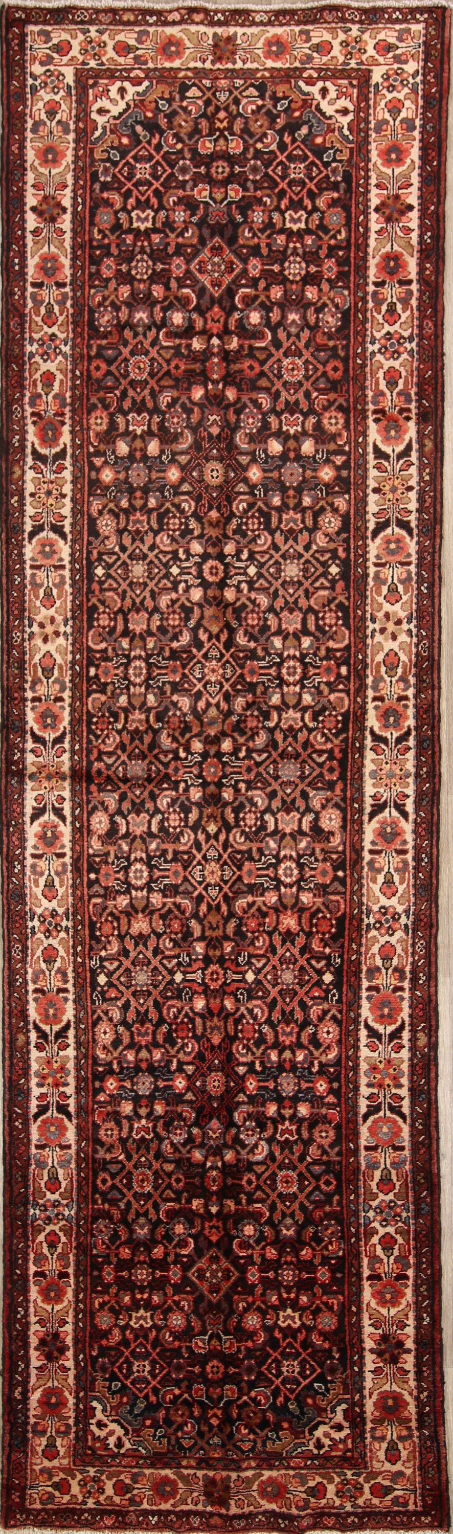 All-Over Floral 4x13 Hamedan Persian Rug Runner