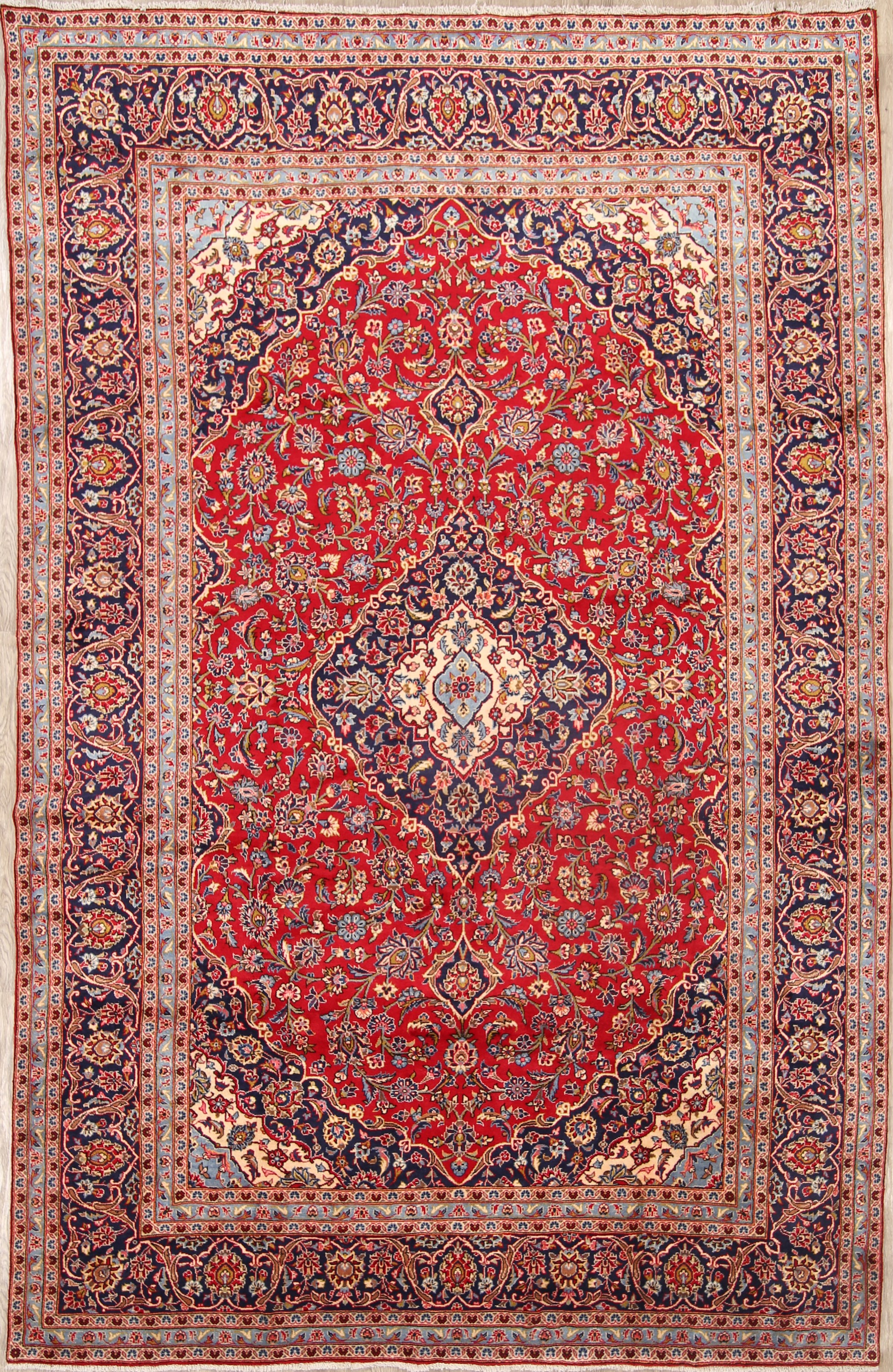 Floral Red 8x13 Kashan Persian Area Rug