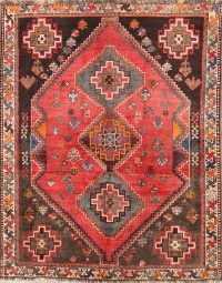 Tribal Geometric 4x5 Abadeh Shiraz Persian Area Rug