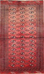 Geometric Faded Color 4x7 Balouch Bokara Persian Area Rug