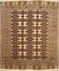 5x5 Turkoman Bokhara Persian Area Rug