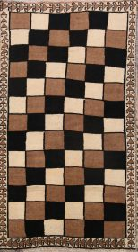 Checked Modern 4x7 Gabbeh Shiraz Persian Area Rug