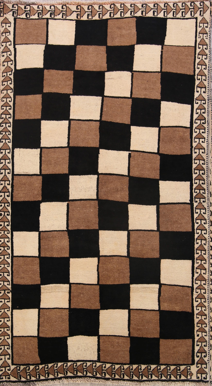 Checked Modern 4x7 Gabbeh Shiraz Persian Area Rug