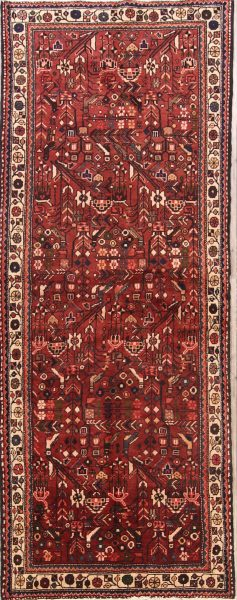 Bird Design All-Over  4x9 Hamedan Persian Rug Runner