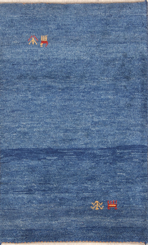 Abstract Thick Pile Blue 3x4 Gabbeh Shiraz Persian  Area Rug