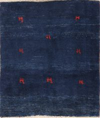 Tribal Royal Blue Square 4x4 Gabbeh Shiraz Persian Area Rug