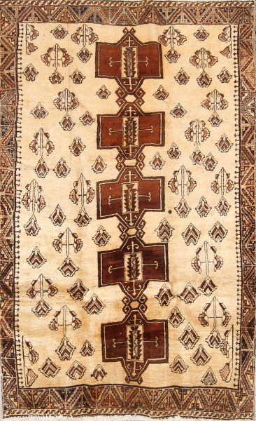 Geometric Tribal 5x8 Gabbeh Shiraz Persian Area Rug