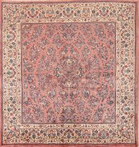 All-Over Floral Square 7x7 Sarouk Persian Area Rug