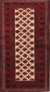 Geometric Ivory 4x7 Balouch Bokara Persian Area Rug