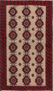 Geometric Tribal Camel 3x6 Balouch Persian Rug Runner