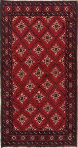 Geometric Tribal 3x6 Balouch Bokara Persian Rug Runner