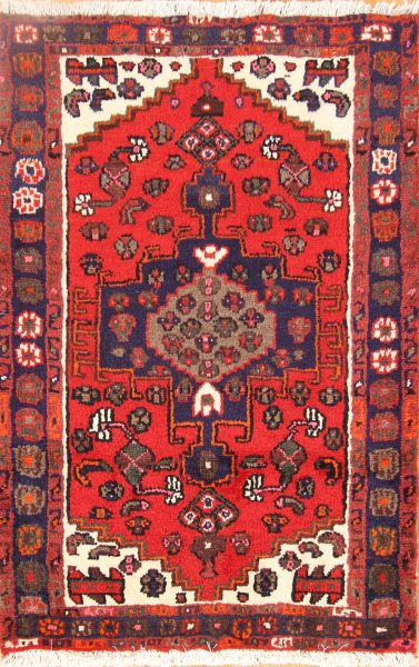Geometric Tribal 2x4 Hamedan Persian Area Rug