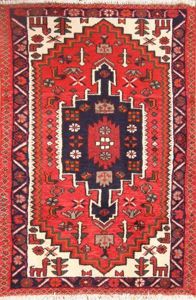 Geometric Tribal Foyer Size 3x4 Hamedan Persian Area Rug