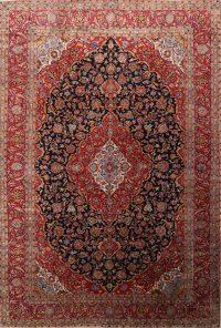Handmade Vintage Floral 10x15 Kashan Persian Area Rug