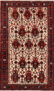 Geometric Tribal Ivory 4x7 Gharajeh Persian Area Rug