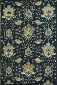 All-over Floral Blue 5x8 Oushak Agra Oriental Area Rug
