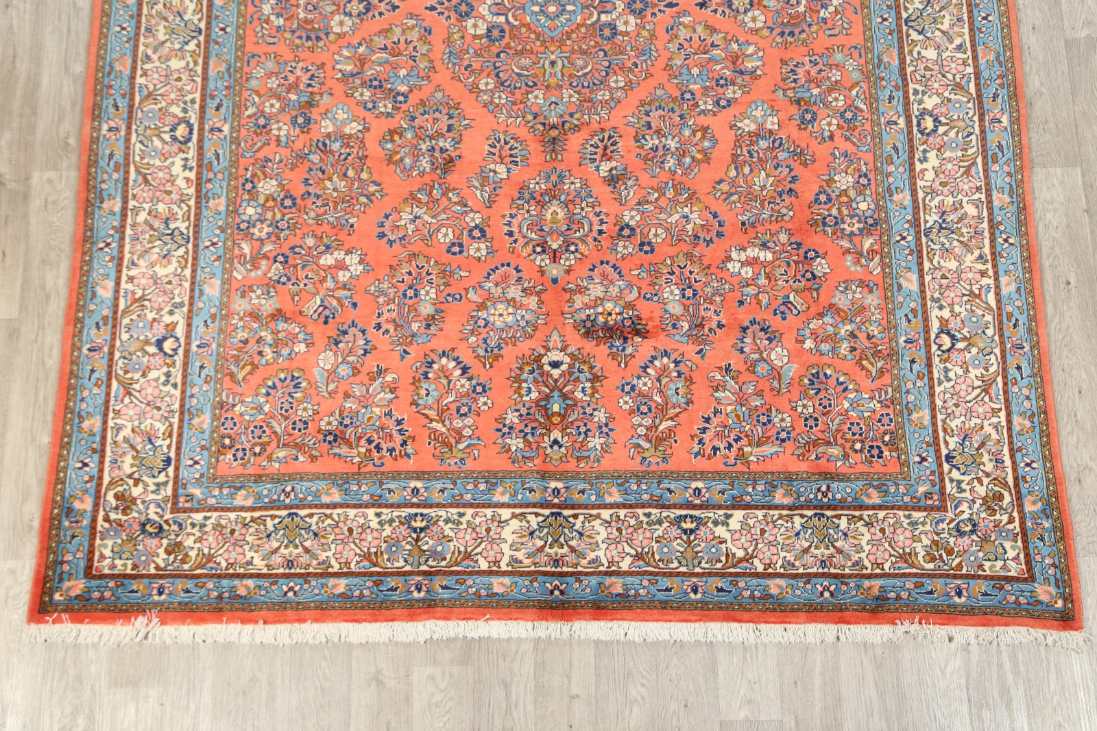 Vintage All Over Floral 8x11 Sarouk Persian Area Rug