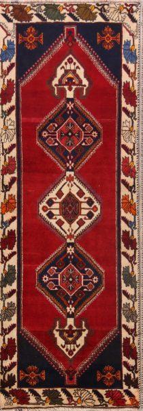 Nomadic Geometric 3x7 Kashkoli Shiraz Persian Rug Runner