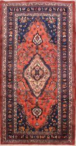 Geometric 4x8 Hamedan Persian Rug Runner