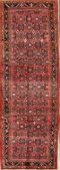 All-Over Geometric 3x10 Hamedan Persian Rug Runner
