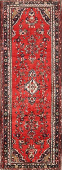 Geometric 4x10 Hamedan Persian Rug Runner