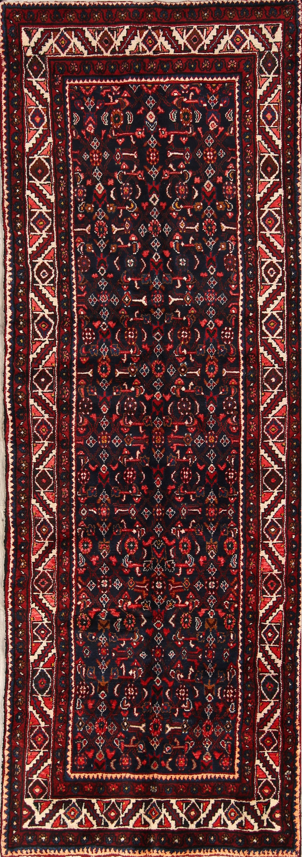 All-Over Navy 4x10 Hamedan Persian Rug Runner