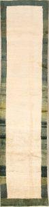 Solid Ivory  3x11 Gabbeh Zolanvari Persian Rug Runner