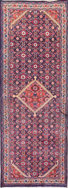 Geometric Navy Blue 4x10 Mahal Sarouk Persian Rug Runner