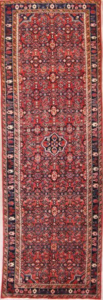 Traditional Floral 4x10 Hamedan Persian Rug Runner