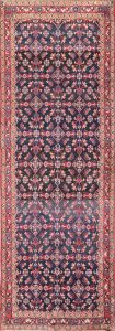 All-Over Floral 4x11 Malayer Hamedan Persian Rug Runner