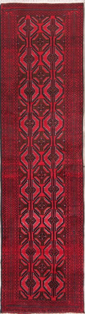 Narrow Geometric 2x8 Balouch Persian Rug Runner