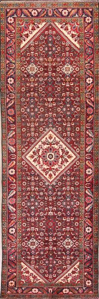 Geometric 4x11 Malayer Hamadan Persian Rug Runner