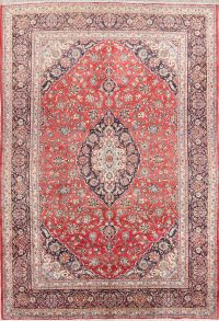 Floral Medallion 9x14 Kashan Persian Area Rug