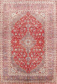 Floral Red/Grey 8x12 Kashan Persian Area Rug