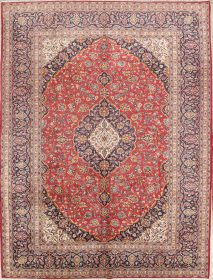 Traditional Floral 9x14 Kashan Persian Area Rug
